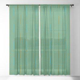Doors & corners op art pattern in olive green and aqua blue Sheer Curtain