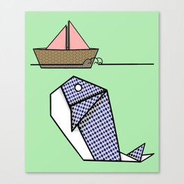Origami Whale Canvas Print