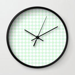 Small Diamonds - White and Pastel Green Wall Clock