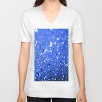 glitter V-neck T-shirts featuring Glitter Blue by Brian Raggatt
