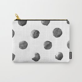 Black Watercolour Dots Carry-All Pouch