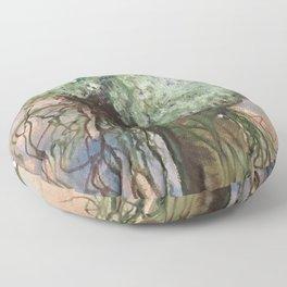 Goddess Rhea's Hydrangea and Willow painting Floor Pillow