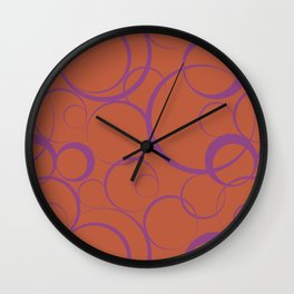 Dark Orange and Purple Funky Ring Pattern V41 Accent Shades To Pantone 2021 Colors of the Year Wall Clock