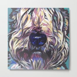 Wheaten Terrier Fun Dog Portrait bright colorful Pop Art Painting by LEA Metal Print