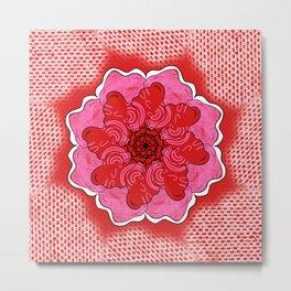 Digi Pink Red Flower  Metal Print