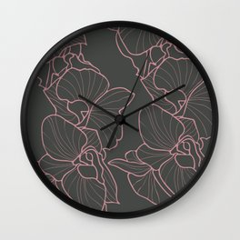 Orchid on Grey Wall Clock