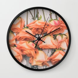 Peach Roses Left Hanging Wall Clock