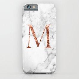 Monogram rose gold marble M iPhone Case