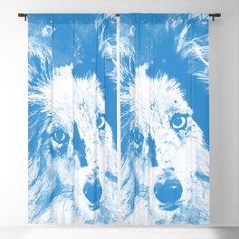 border collie dog 5 portrait wswb Blackout Curtain