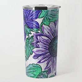 Large Purple Flowers Travel Mug