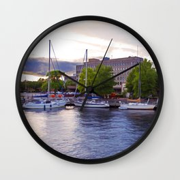 Downtown Portsmouth Boats at Sunset Wall Clock