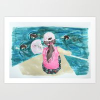 mermaids Art Prints featuring Mermaids by Condor