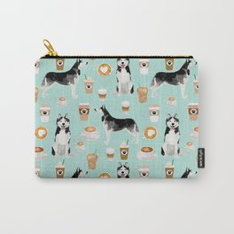 Husky coffee siberian husky owners gifts for dog person dog breed portraits by pet friendly Carry-All Pouch