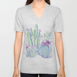 Mixed Cacti White #society6 #buyart Unisex V-Neck