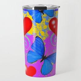 Red Hearts Valentines & Blue Butterflies Art Patterns Travel Mug
