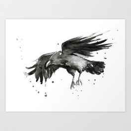 Raven Watercolor Art Print