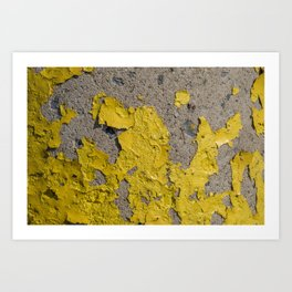 Yellow Peeling Paint on Concrete 2 Art Print