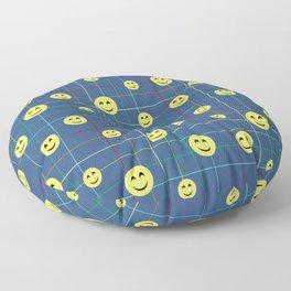 Colorful Smiley Emoji 5 - dark blue Floor Pillow