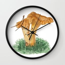 Chanterelle mushroom in watercolor Wall Clock