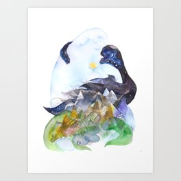 Day, night, mountains, love. Art Print