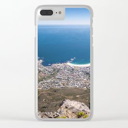 Panoramic view of Camps Bay from Table Mountain in Cape Town, South Africa Clear iPhone Case