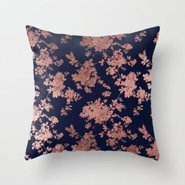 Modern elegant navy blue faux rose gold floral Throw Pillow