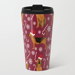 Bloodhound christmas candy canes and snowflakes holiday dog breed gifts Travel Mug