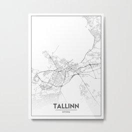 Minimal City Maps - Map Of Tallinn, Estonia. Metal Print