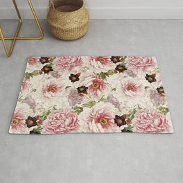 Small Vintage Peony and Ipomea Pattern - Smelling Dreams Rug