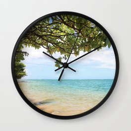 secluded beach Wall Clock