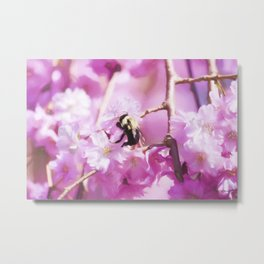 Pink Weeping Willow With Bumble Bee Metal Print