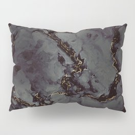 Invisible - black gray gold marble abstract pattern Pillow Sham