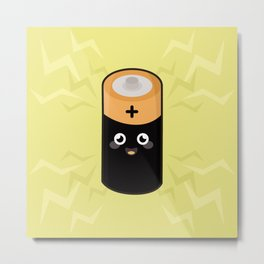 Kawaii battery Metal Print