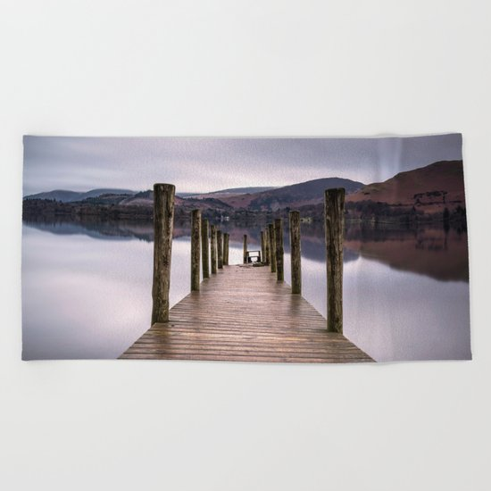 Lake View with Wooden Pier Beach Towel