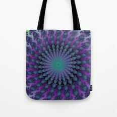 Cool Hued Purple Blue Braided Rug Fractal Tote Bag