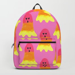 Rainbow Ghost with Heart Eyes and Yellow to Pink Gradient Backpack