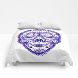 Sugar Skull (Calavera) Chromatic Aberration - Cyan Magenta Comforters