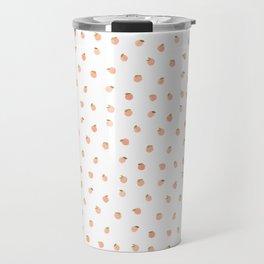 Sweet Peach Polka Dot, White Travel Mug