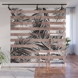 Trendy tropical palm trees chic rose gold stripes Wall Mural