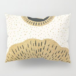 Sun and Moon Relationship // Cosmic Rays of Black with Gold Speckle Stars Cool Minimal Digital Drawn Pillow Sham