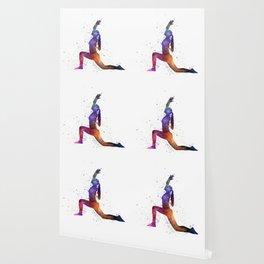 Yoga woman 04 in watercolor splatter Wallpaper
