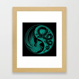 Teal Blue and Black Dragon Phoenix Yin Yang Framed Art Print