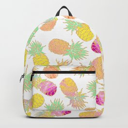 Tropical neon pink teal watercolor faux gold glitter pineapple Backpack