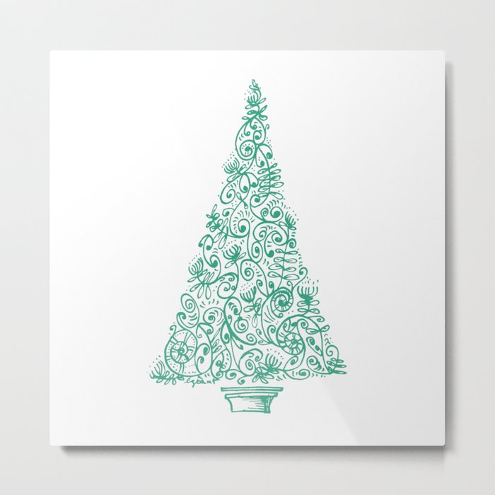 green Christmas tree in New Zealand Metal Print