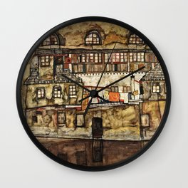 Egon Schiele - House Wall On The River Wall Clock