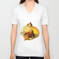 donkey kong V-neck T-shirts featuring Kong by Rod Perich