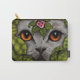 Grey Cat Orange Eyes Green Leaves Carry-All Pouch