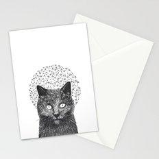 Dandelion black cat Stationery Cards