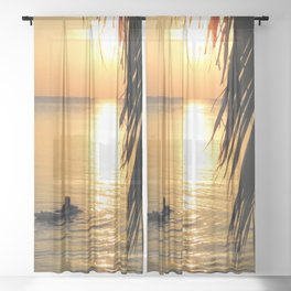Island sunset relaxation Sheer Curtain