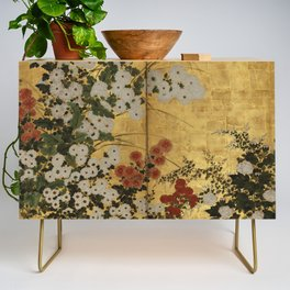 White Red Chrysanthemums Floral Japanese Gold Screen Credenza